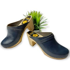 Swedish Hasbeens Blue Wood Clogs Size 9